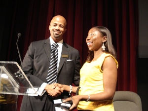 Adrienne Samuels Gibbs on the Black in America panel, Chicago, July 2009