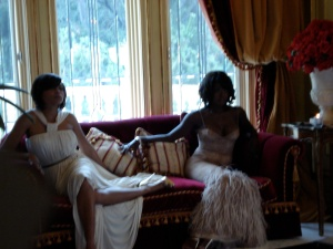 In the red room at the photo shoot in the mansion.