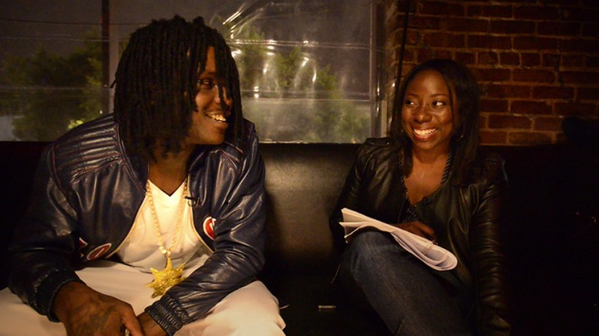 Chief Keef cracks a smile with Adrienne Samuels Gibbs. This was actually a tough interview yall...